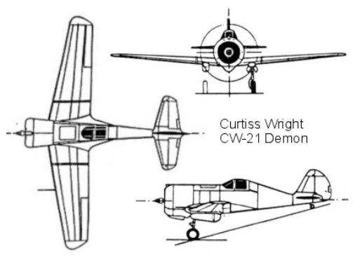 CW-21 three-view