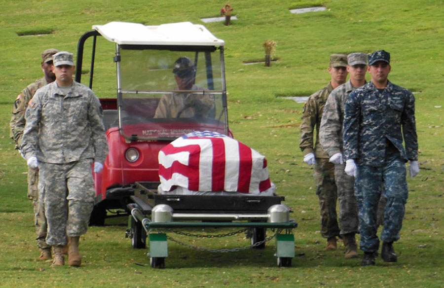 A casket exhumed at Punchbowl