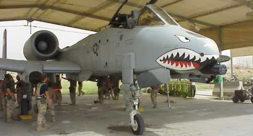 Below: an A-10 Warthog of the