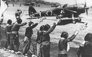 girls waving to Kamikaze pilots
